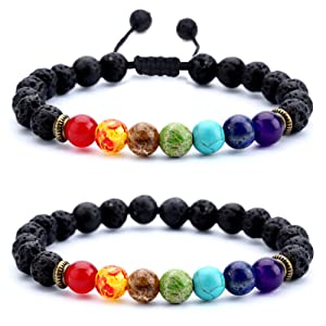 595727d1 1009 47d8 8acf cace5b465df1. CR0,0,1001,1001 PT0 SX300   - Hamoery Men Women 8mm Lava Rock 7 Chakras Aromatherapy Essential Oil Diffuser Bracelet Braided Rope Natural Stone Yoga Beads Bracelet Bangle