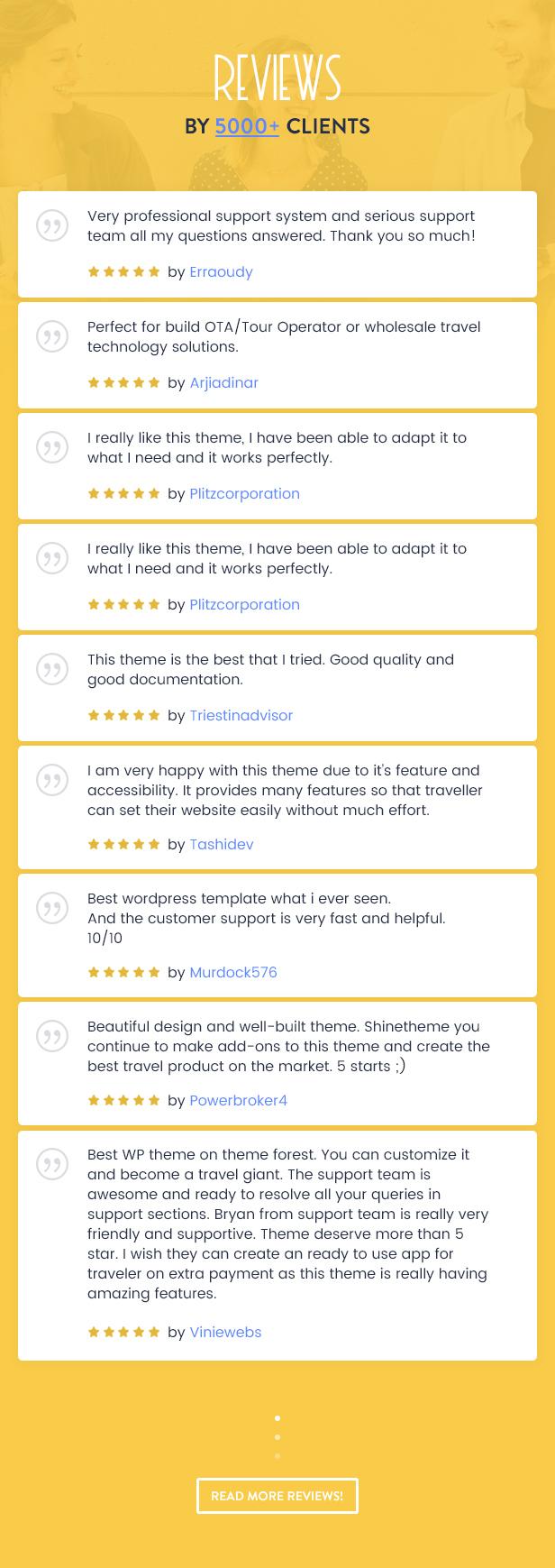 5 review - Travel Booking WordPress Theme