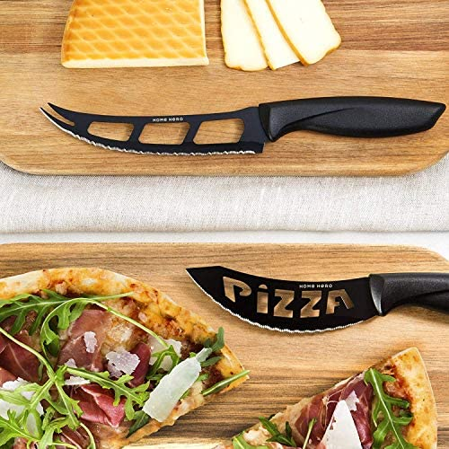 61RJ7fH0AYL. AC  - Stainless Steel Knife Set with Block 17 Piece Set Kitchen Knives Set Chef Knife Set with Knife Sharpener, 6 Steak Knives with Bonus Peeler Scissors Cheese Pizza Knife and Acrylic Stand by Home Hero
