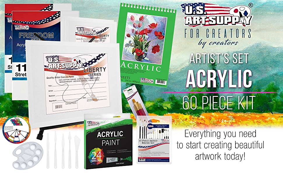 8f1023d0 7d67 449c 9681 071990a230d3.  CR0,0,1940,1200 PT0 SX970 V1    - U.S Art Supply 60-Piece Deluxe Acrylic Painting Set with Aluminum Tabletop Easel, 24 Acrylic Colors, Acrylic Painting Pad, Stretched & Canvas Panels, Brushes & Palette Knives