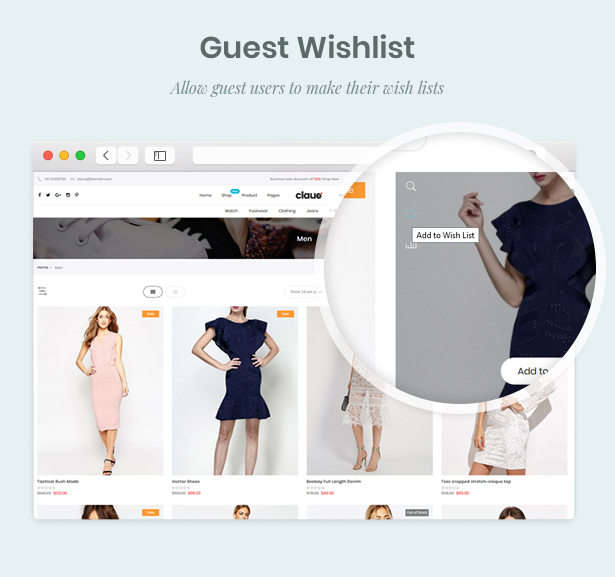 GuestWishlist - Claue - Clean, Minimal Magento 2 and 1 Theme