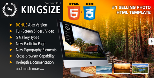 KingSize ThemForest HTML.  large preview - KingSize FullScreen Photography Template