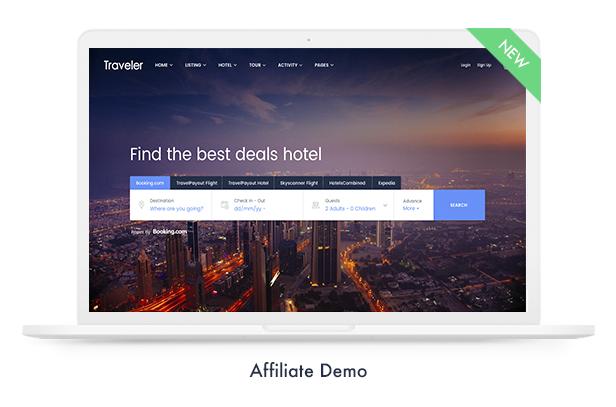 affiliate demo - Travel Booking WordPress Theme