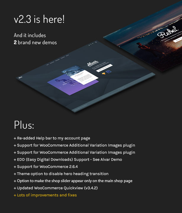atelier update banner v2.3 - Atelier - Creative Multi-Purpose eCommerce Theme