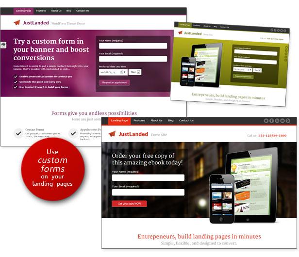 custom forms - JustLanded - WordPress Landing Page