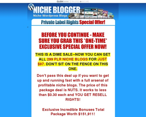 ebizhub x400 thumb - The Niche Blog Pack - 299 Niche PLR Wordpress Blogs With Content