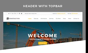 header topbar - Construction WordPress Theme