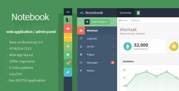 preview.  large preview - Notebook - Web App and Admin Template