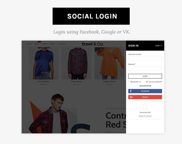 social login - Basel - Responsive eCommerce Theme