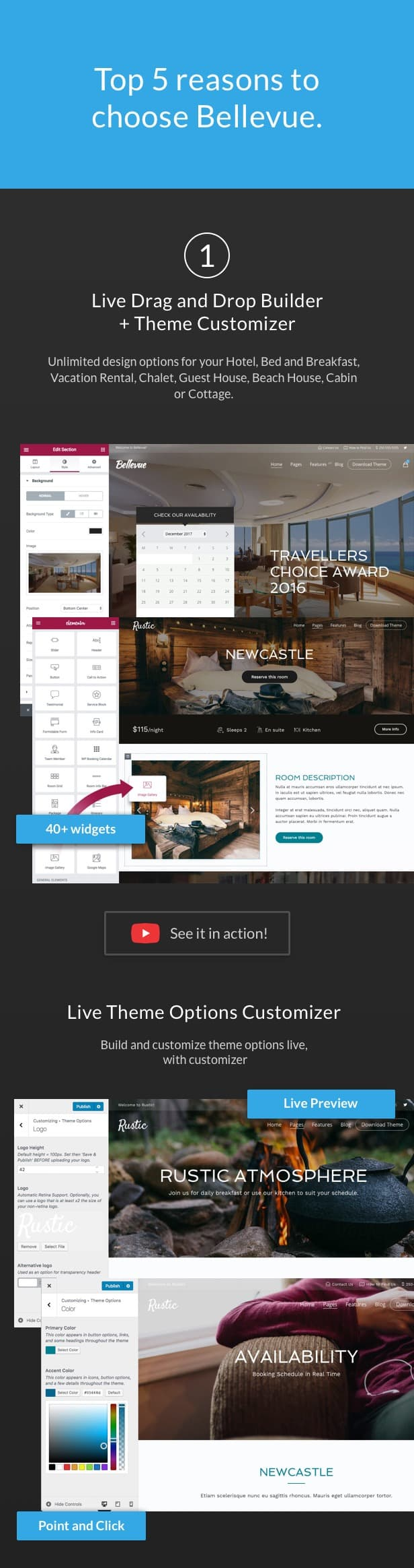 01 bellevue hotel bnb wordpress theme - Hotel + Bed and Breakfast Booking Calendar Theme | Bellevue