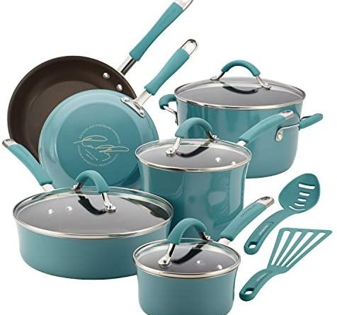 1601625598 51d6x96r1BL. AC  476x445 - Rachael Ray Cucina Nonstick Cookware Pots and Pans Set, 12 Piece, Agave Blue