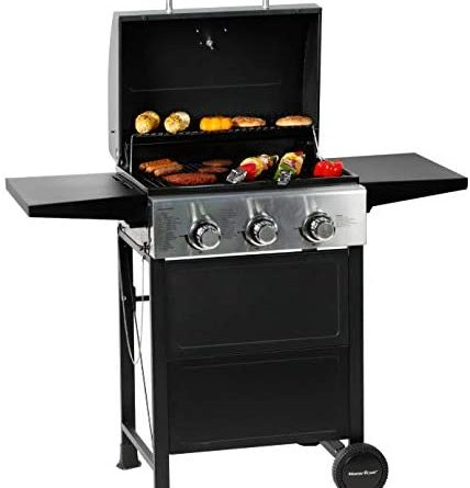 1601755548 41sXplFz3mL. AC  428x445 - MASTER COOK 3 Burner BBQ Propane Gas Grill, Stainless Steel 30,000 BTU Patio Garden Barbecue Grill with Two Foldable Shelves