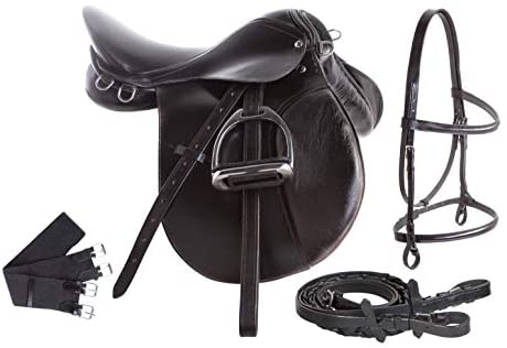 1602929195 41hMw76BgRL. AC  - All Purpose Black Leather English Riding Horse Saddle Starter Kit