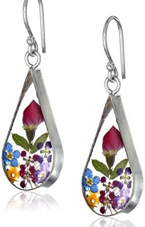 1603279792 41wAj24yFcL. AC  285x445 - Sterling Silver Pressed Flower Teardrop Earrings