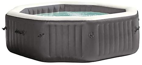 31bDmV93L. AC  - Intex 28417WL PureSpa 6 Person Fiber-Tech Construction Portable Octagonal Inflatable Hot Tub Spa with 140 Bubble Jets, Gray
