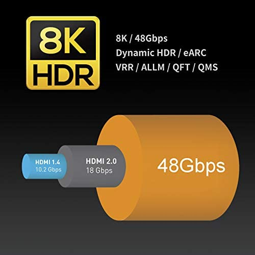 41 c+izOAIL. AC  - Zeskit 8K Ultra HD High Speed 48Gpbs HDMI Cable 6.5ft, 8K60 4K120 144Hz eARC HDR10 4:4:4 HDCP 2.2 & 2.3 Compatible with Dolby Vision Xbox PS4 PS5 Apple TV 4K Roku Fire TV Switch Vizio Sony LG Samsung
