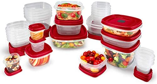 418GIWcdkZL. AC  - Rubbermaid Easy Find Vented Lids Food Storage Containers, Set of 30 (60 Pieces Total), Racer Red
