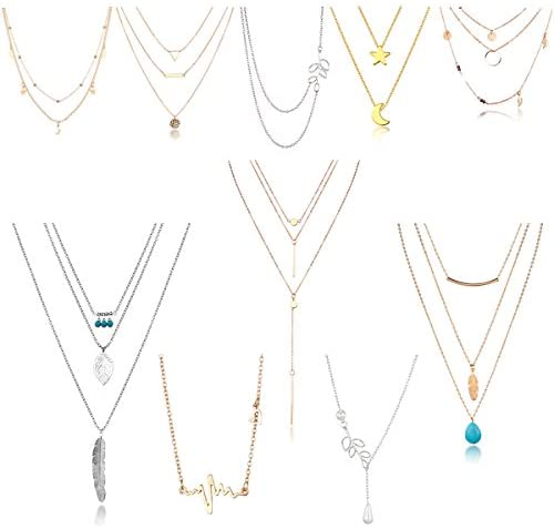 41L7+NVZgGL. AC  - 10/12 PCS Multiple DIY Layered Choker Necklace Pack for Teens - Gold Y Pendant Necklace for Women - Gold Silver Chokers for Teen Girls