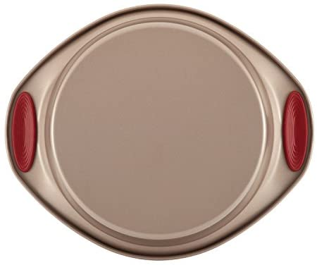 41OqRH5dHoL. AC  - Rachael Ray 52410 Cucina Nonstick Bakeware Set with Baking Pans, Baking Sheets, Cookie Sheets, Cake Pan, Muffin Pan and Bread Pan - 10 Piece, Latte Brown with Cranberry Red Grip