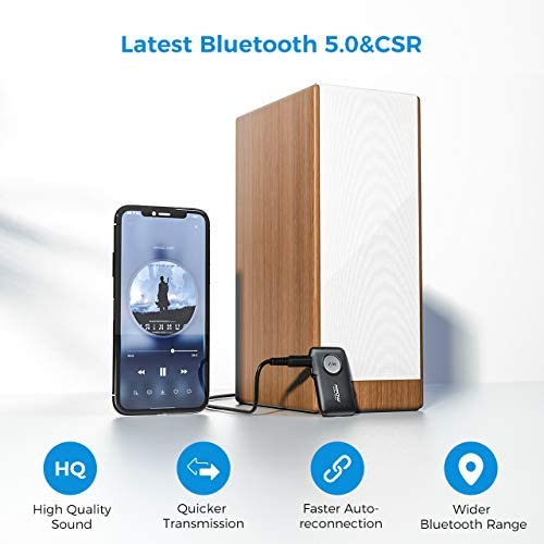 41d4G7gSGZL. AC  - Mpow BH298A Bluetooth Receiver, Aux Wireless Bluetooth with Bluetooth 5.0 for Wired Speakers/Headphones/Home Music Streaming Stereo System, Protable Bluetooth Car Adapter, Easy Control On/Off Slider