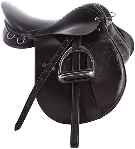 41hZivgoxWL. AC  - All Purpose Black Leather English Riding Horse Saddle Starter Kit