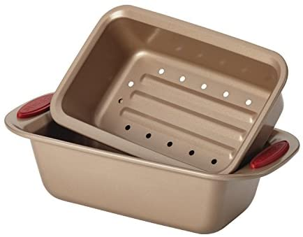 41nF8UFOREL. AC  - Rachael Ray 52410 Cucina Nonstick Bakeware Set with Baking Pans, Baking Sheets, Cookie Sheets, Cake Pan, Muffin Pan and Bread Pan - 10 Piece, Latte Brown with Cranberry Red Grip