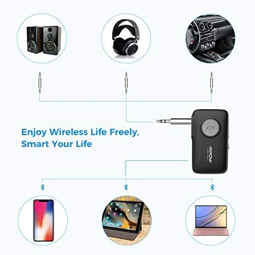 41pG99lEScL. AC  - Mpow BH298A Bluetooth Receiver, Aux Wireless Bluetooth with Bluetooth 5.0 for Wired Speakers/Headphones/Home Music Streaming Stereo System, Protable Bluetooth Car Adapter, Easy Control On/Off Slider
