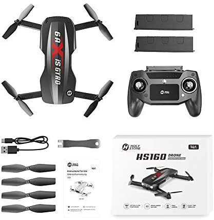 41uYi9qMBzL. AC  - Holy Stone HS160 Pro Foldable Drone with 1080p HD WiFi Camera for Adults and Kids, Wide Angle FPV Live Video, App Control, Gesture Selfie, Waypoints, Optical Flow, Altitude Hold and 2 Batteries