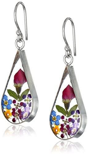 41wAj24yFcL. AC  - Sterling Silver Pressed Flower Teardrop Earrings