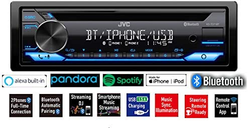 41zB10GbVWL. AC  - JVC Single-Din Built-in Bluetooth, Dual Phone Connection, Android Music Playback, CD MP3 AM/FM USB AUX Input Car Stereo Player, Pandora Spotify Control iHeart Radio Receiver w/FREE ALPHASONIK EARBUDS