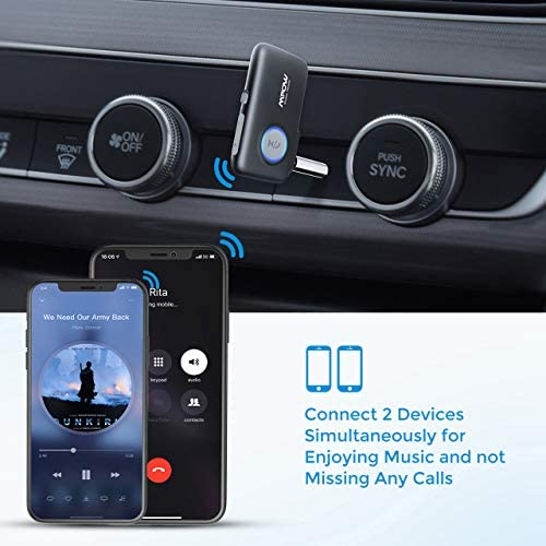 51+2pnqQgjL. AC  - Mpow BH298A Bluetooth Receiver, Aux Wireless Bluetooth with Bluetooth 5.0 for Wired Speakers/Headphones/Home Music Streaming Stereo System, Protable Bluetooth Car Adapter, Easy Control On/Off Slider
