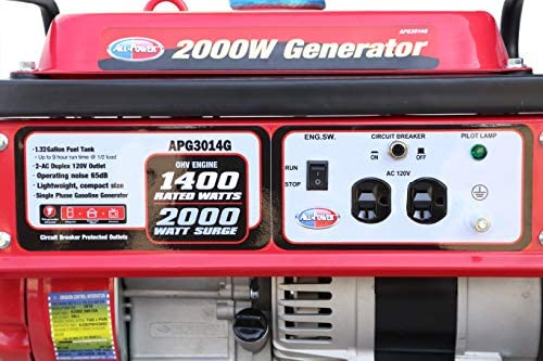 5111 KPHyFL. AC  - All Power America APG3014G 2000 Watt Portable Generator, Gas Powered for Home Back Up, Hurricane Recovery, Black/Red