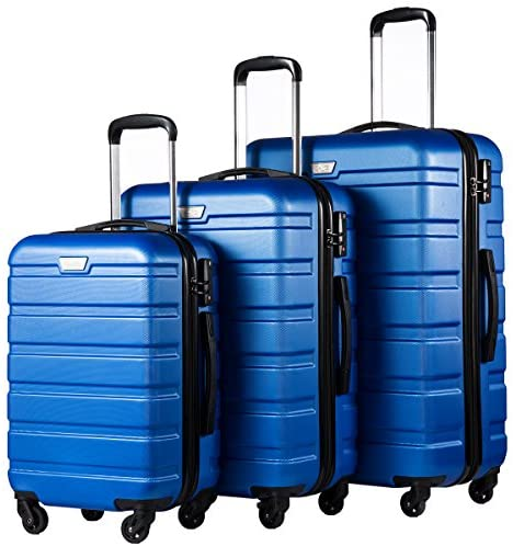 514TNyuuIfL. AC  - COOLIFE Luggage 3 Piece Set Suitcase Spinner Hardshell Lightweight TSA Lock 4 Piece Set