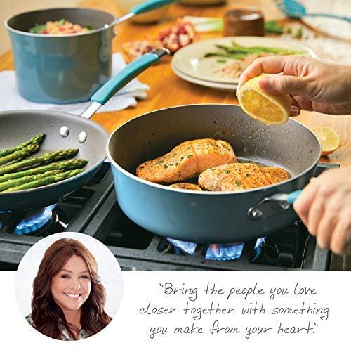 518qRnKwQpL. AC  - Rachael Ray Cucina Nonstick Cookware Pots and Pans Set, 12 Piece, Agave Blue
