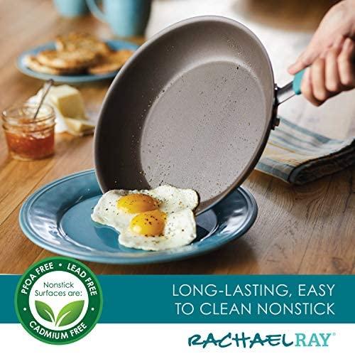 51Av1bEUrcL. AC  - Rachael Ray Cucina Nonstick Cookware Pots and Pans Set, 12 Piece, Agave Blue