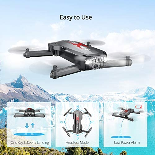 51DT7+CZQAL. AC  - Holy Stone HS160 Pro Foldable Drone with 1080p HD WiFi Camera for Adults and Kids, Wide Angle FPV Live Video, App Control, Gesture Selfie, Waypoints, Optical Flow, Altitude Hold and 2 Batteries