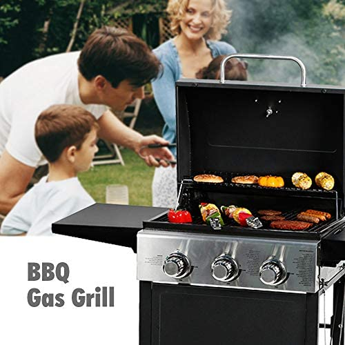 51Gw3vLdkhL. AC  - MASTER COOK 3 Burner BBQ Propane Gas Grill, Stainless Steel 30,000 BTU Patio Garden Barbecue Grill with Two Foldable Shelves