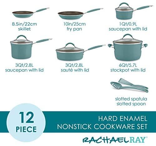 51MU7lLJgjL. AC  - Rachael Ray Cucina Nonstick Cookware Pots and Pans Set, 12 Piece, Agave Blue