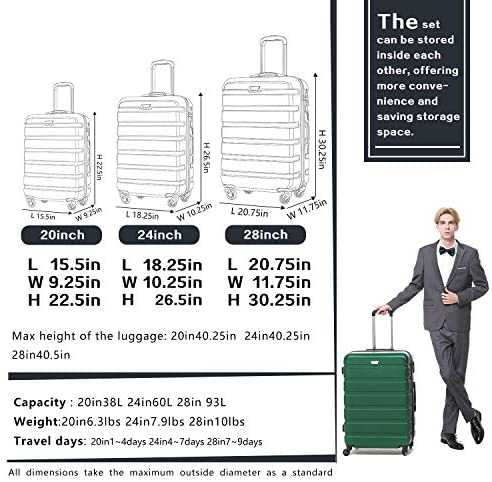 51O 1WO09EL. AC  - COOLIFE Luggage 3 Piece Set Suitcase Spinner Hardshell Lightweight TSA Lock 4 Piece Set