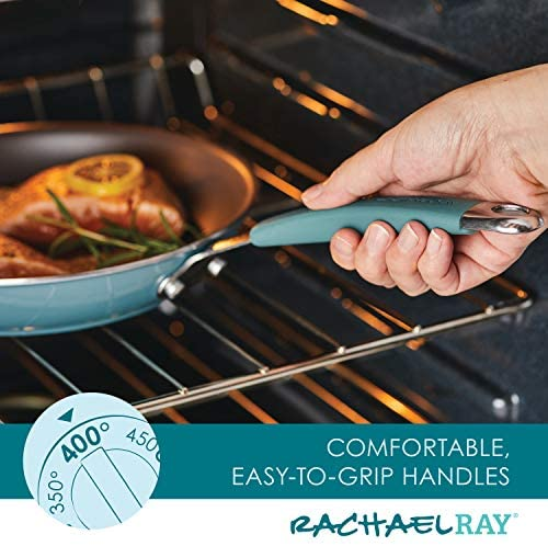 51OD3Jy1WKL. AC  - Rachael Ray Cucina Nonstick Cookware Pots and Pans Set, 12 Piece, Agave Blue