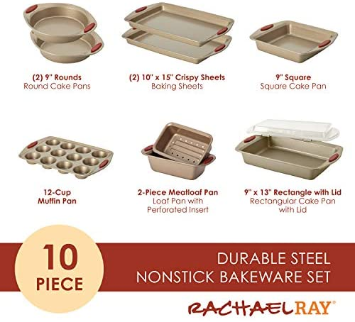 51PnM4hhF L. AC  - Rachael Ray 52410 Cucina Nonstick Bakeware Set with Baking Pans, Baking Sheets, Cookie Sheets, Cake Pan, Muffin Pan and Bread Pan - 10 Piece, Latte Brown with Cranberry Red Grip