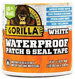 """51TW4wYeT6L. AC  - Gorilla Waterproof Patch & Seal Tape, 4"""" x 10', White (Pack of 1)"""