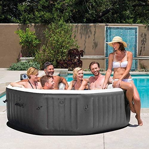 51bIuV2J5JL. AC  - Intex 28417WL PureSpa 6 Person Fiber-Tech Construction Portable Octagonal Inflatable Hot Tub Spa with 140 Bubble Jets, Gray