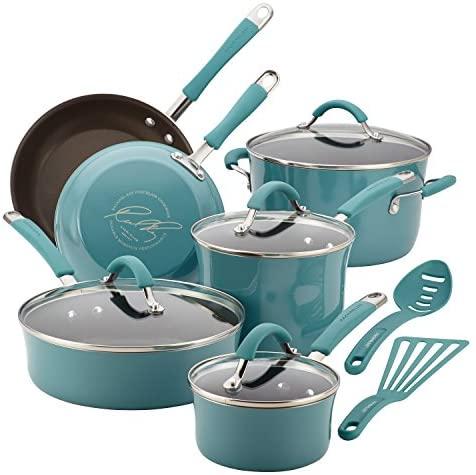51d6x96r1BL. AC  - Rachael Ray Cucina Nonstick Cookware Pots and Pans Set, 12 Piece, Agave Blue