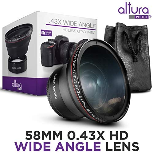 51e8eL4wsoL. AC  - 58MM 0.43x Altura Photo Professional HD Wide Angle Lens (w/Macro Portion) for Canon EOS 70D 77D 80D Rebel T7 T7i T6i T6s T6 SL2 SL3 DSLR Cameras