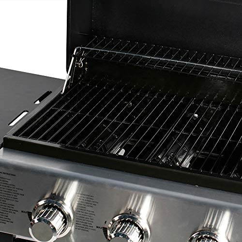 51hoEWz5sEL. AC  - MASTER COOK 3 Burner BBQ Propane Gas Grill, Stainless Steel 30,000 BTU Patio Garden Barbecue Grill with Two Foldable Shelves