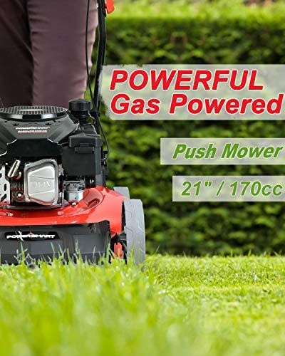 51jvg4Ev8BL. AC  - PowerSmart Lawn Mower, 21-inch & 170CC, Gas Powered Push Lawn Mower with 4-Stroke Engine, 2-in-1 Gas Mower in Color Red/Black, 5 Adjustable Heights (1.18''-3.0''), DB2321CR