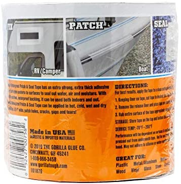 """51m93Utwm L. AC  - Gorilla Waterproof Patch & Seal Tape, 4"""" x 10', White (Pack of 1)"""