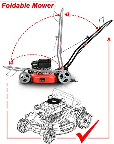 51pKS42CsxL. AC  - PowerSmart Lawn Mower, 21-inch & 170CC, Gas Powered Push Lawn Mower with 4-Stroke Engine, 2-in-1 Gas Mower in Color Red/Black, 5 Adjustable Heights (1.18''-3.0''), DB2321CR
