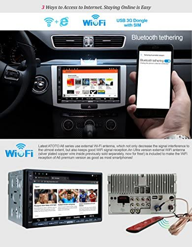 51qcSo447gL. AC  - ATOTO A6 Double Din Android Car Navigation Stereo with Dual Bluetooth - Standard A6Y2710SB 1G/16G Car Entertainment Multimedia Radio,WiFi/BT Tethering Internet,Support 256G SD &More